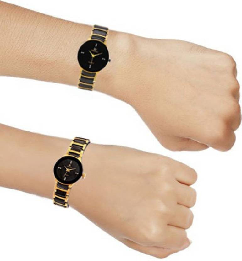 IIK Stylish Black and gold Couple Analog Watch for Men
