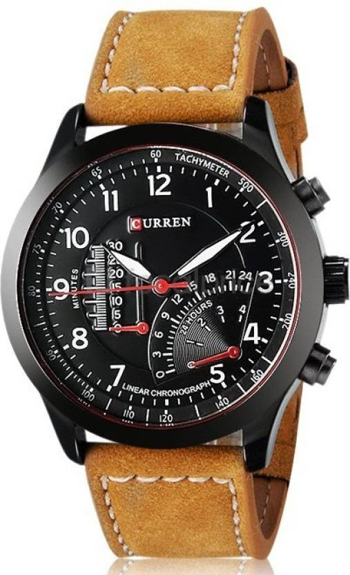 Curren Stylish Black temo Analog Watch for Men