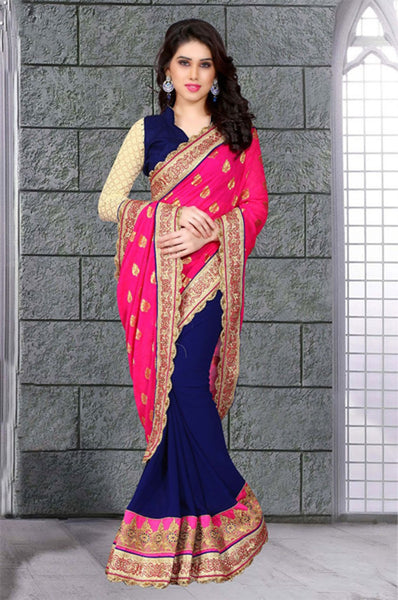Graceful Rani Colored Georgette Saree