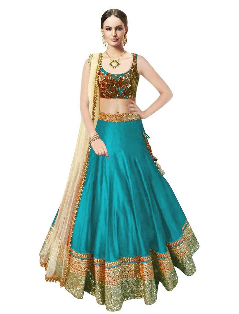Axar fashion rama colour semistitched banglori silk lehenga choli(AR_rama_beauty)