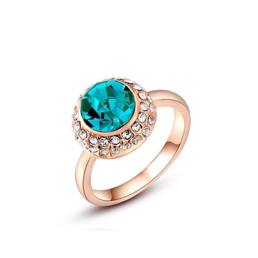 Gold Plated Blue Austrian Crystal Ring