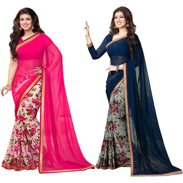 wama fashion latest designer georgette saree(combo_ aayesha_royal)