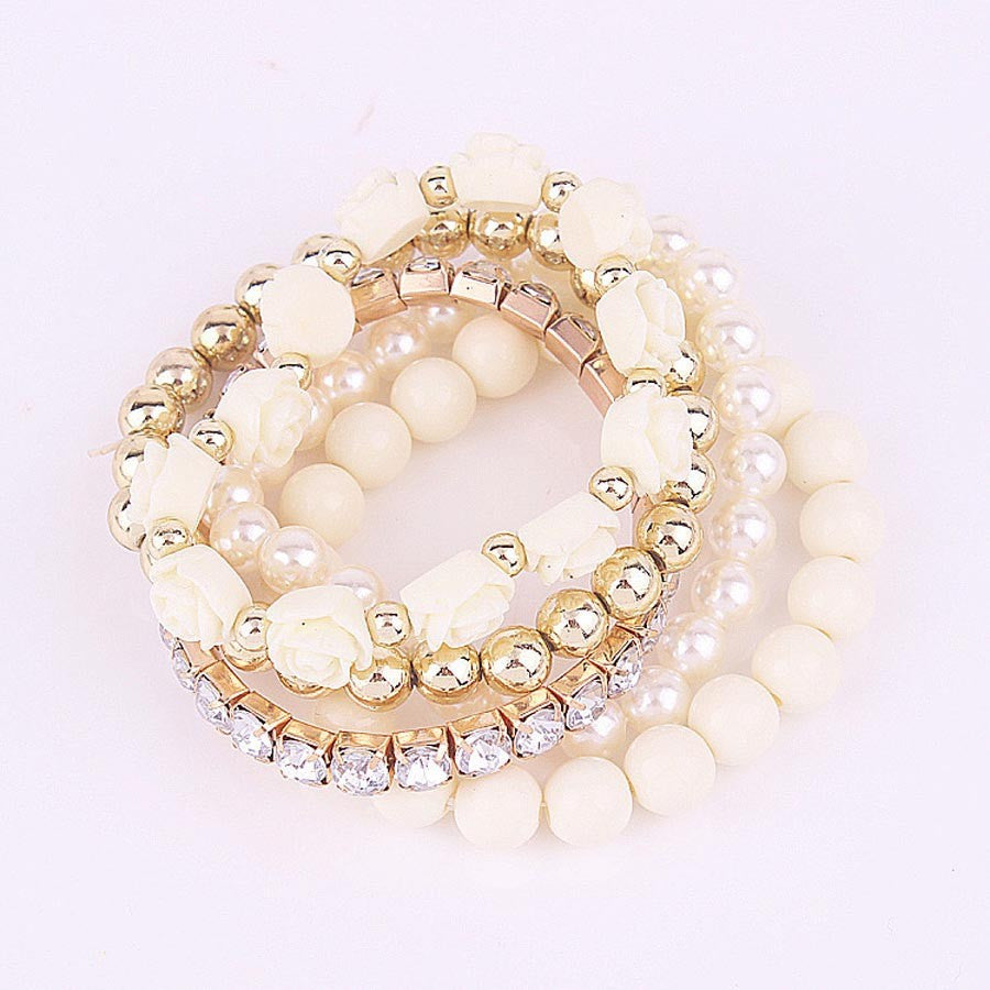 White Color Pearl Rose Flower Bracelet