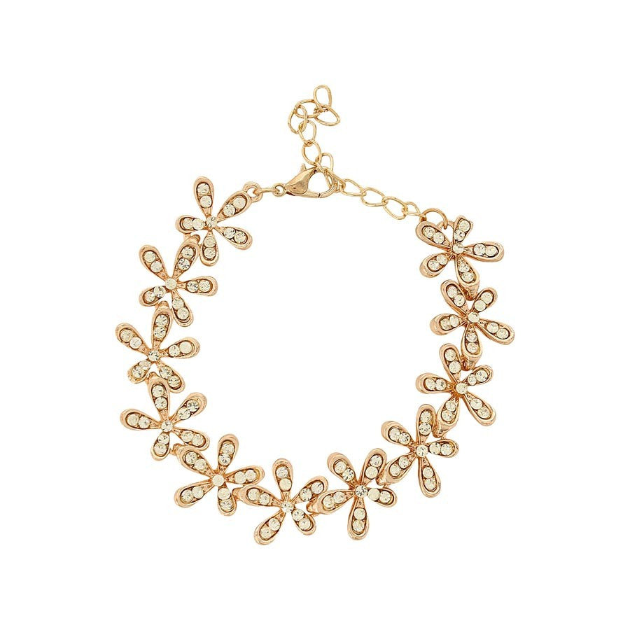 Fayon Party Style Diva Crystal studded Flowers Chain Bracelet
