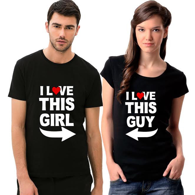 Awesome Tees Love This Girl/Guy Couple T-Shirt Combo