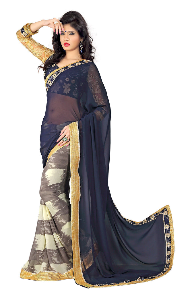Rahi Fashion Blue Georgette Half N Half Saree with Blouse_3320