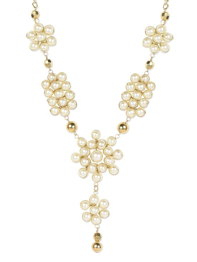 Exclusive Golden Coloured White Pearl Necklace