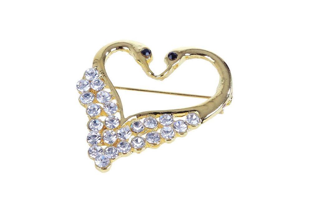 Gold Plated Heart Shaped Brooch
