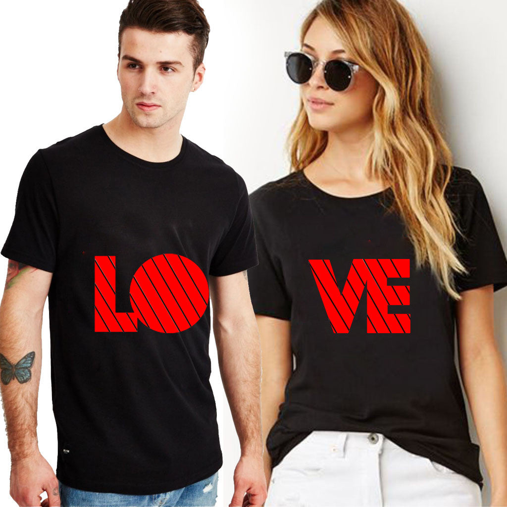 Fashion Bar Love Printed Couple T-shirt