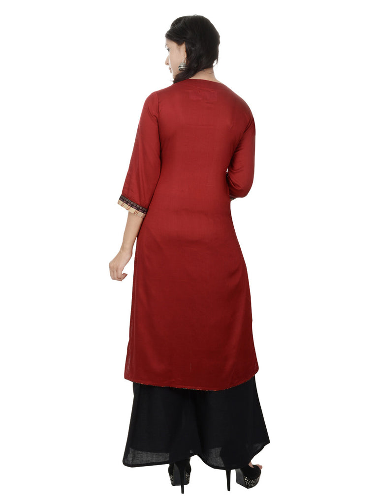 Jaipuriya Maroon Rayon Kurta with beautiful Hand-Crafted Yoke