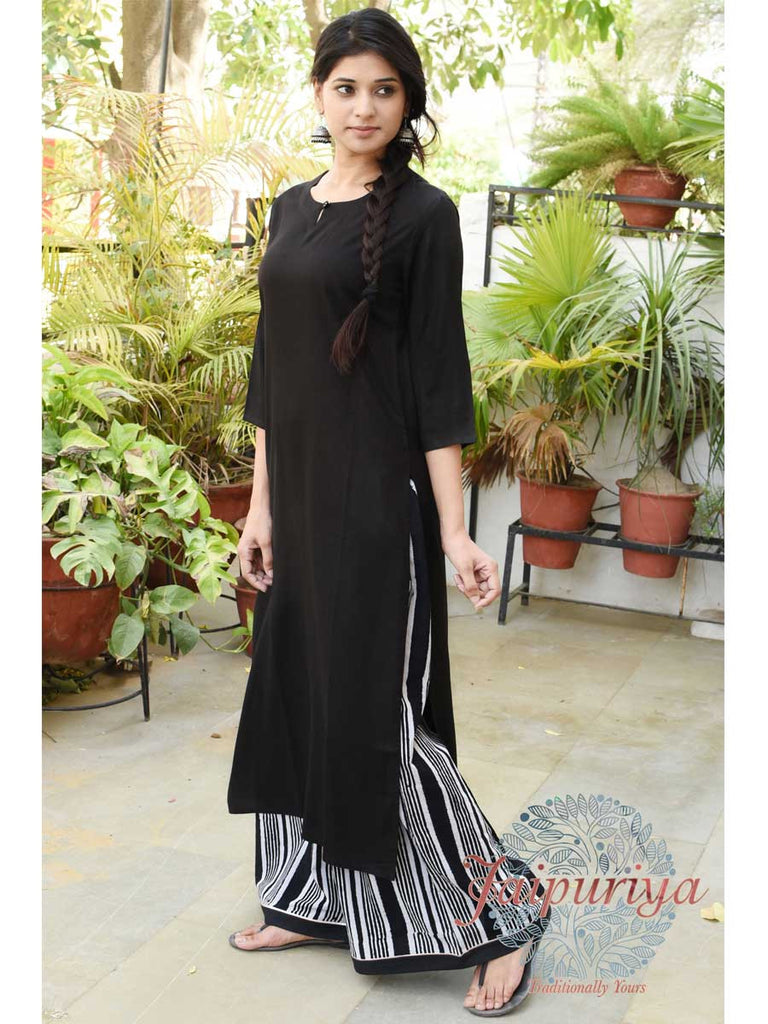 Jaipuriya Black Rayon Long KURTA