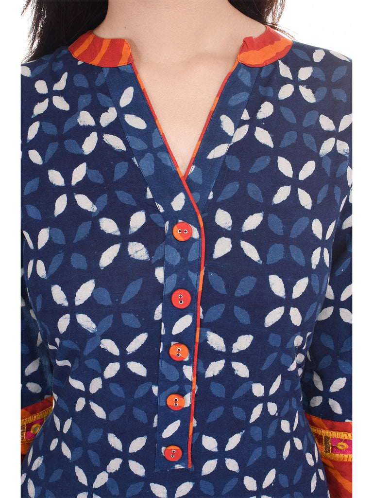 Jaipuriya Indigo Cotton Kurta with Orange Leheriya Detailing and Embroidery on Sleeves
