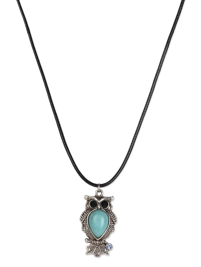 Turquoise Blue Stone Owl Necklace