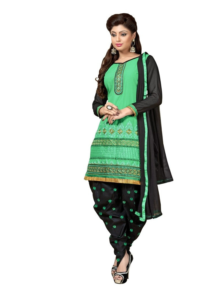 green Cotton Patiyala suit