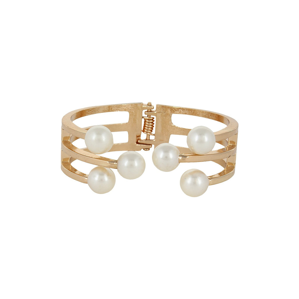 Fayon Weekend Party White Pearl Cuff Bracelet
