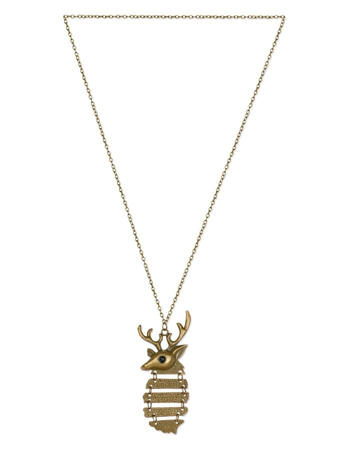 Vintage Bronze Striped Deer Necklace