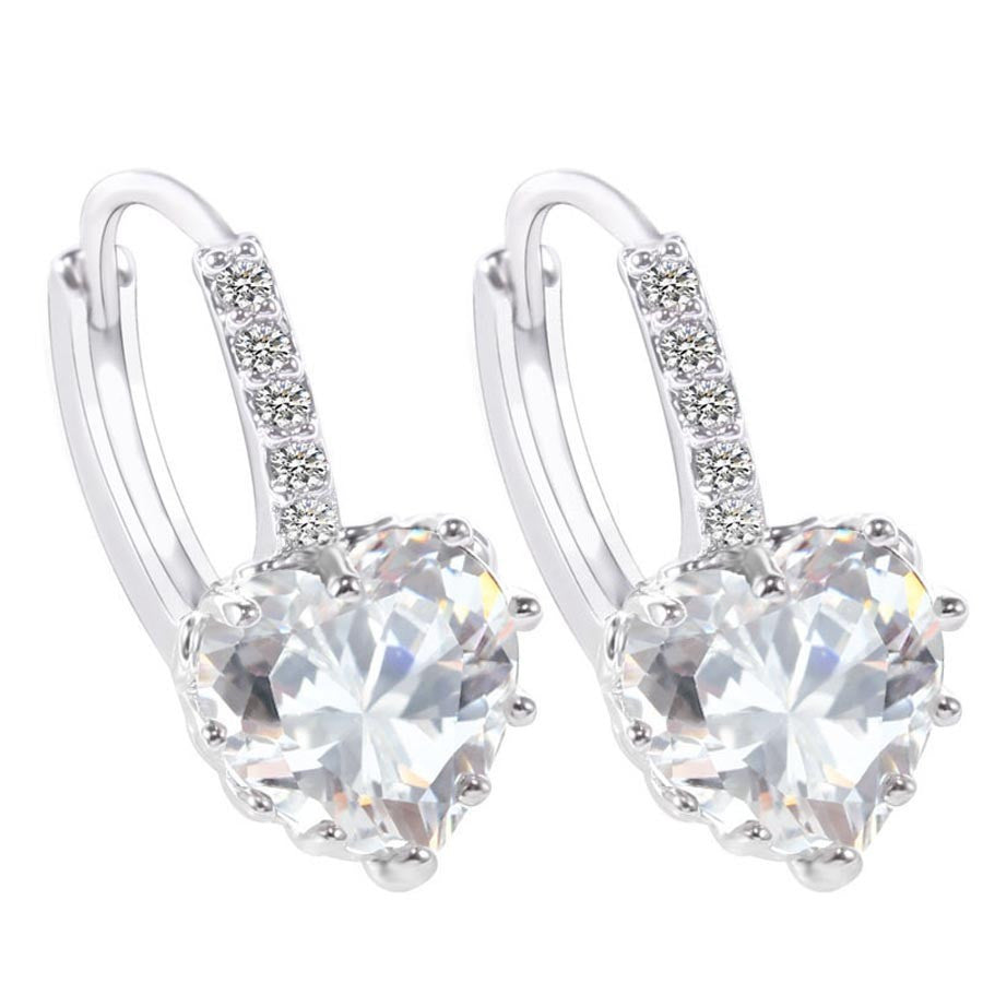 Brilliant Heart Platinum Plated Earring