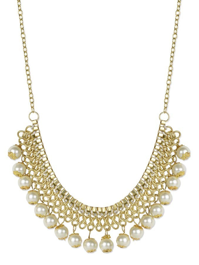 White Pearl Gold Plated Necklace