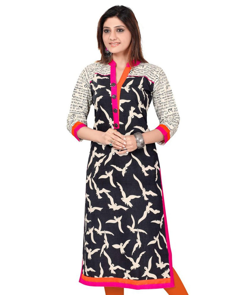 Axar fashion black and white color cotton stitched kurti (Ar_kirti_balck)