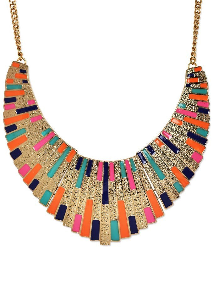 Fashion Alloy Colorful Collar Necklace