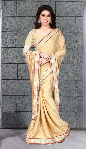 Blissful Chikoo Colored Crepe Georgette Saree