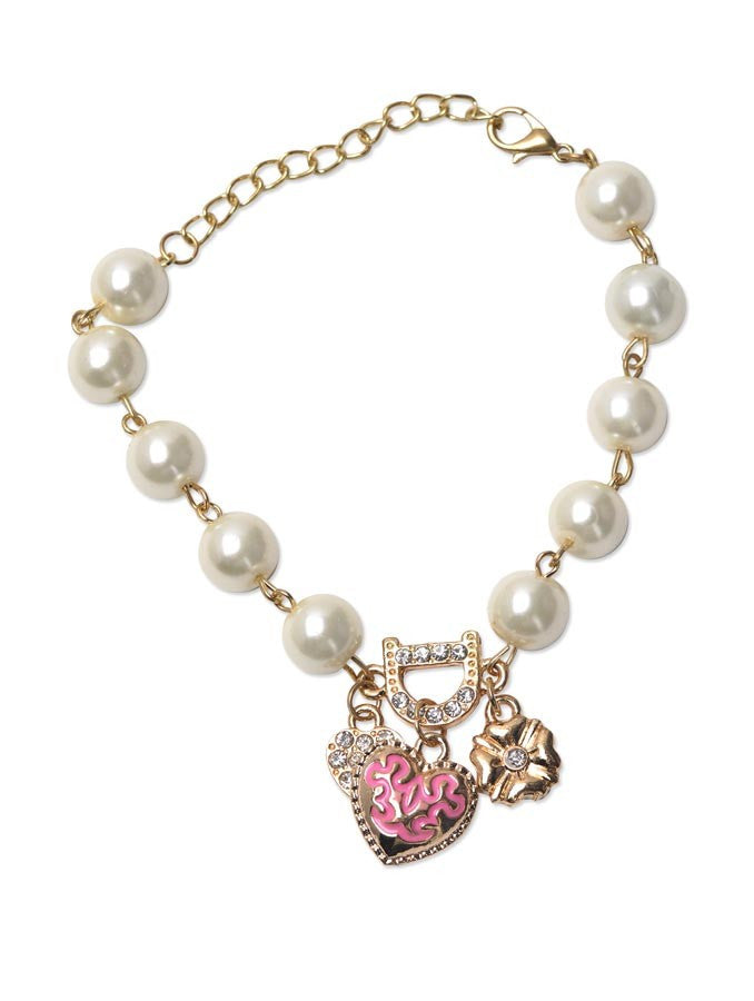 Bohenmia Heart D Letter with Floral Pearl Bracelets