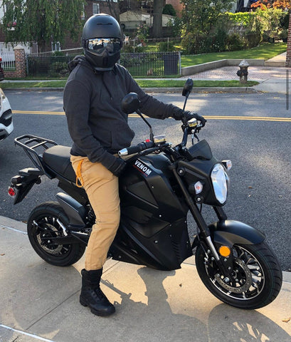 Electric Grom Motorcycle 2020 from Venom Motorsports Canada USA rider matte black