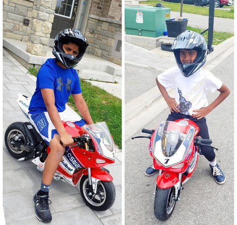 x15 super pocket bike with riders sizing size