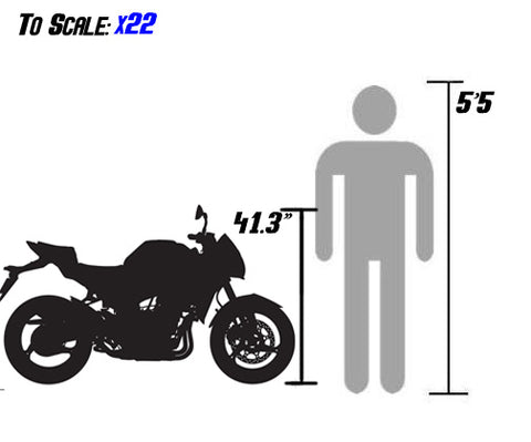 venom x22 125cc sizing scale with person bd125-1 bd125-11 bd125-11GT size scale
