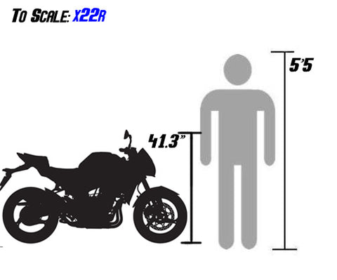 x22r sizing scale with person 250cc df250rts size