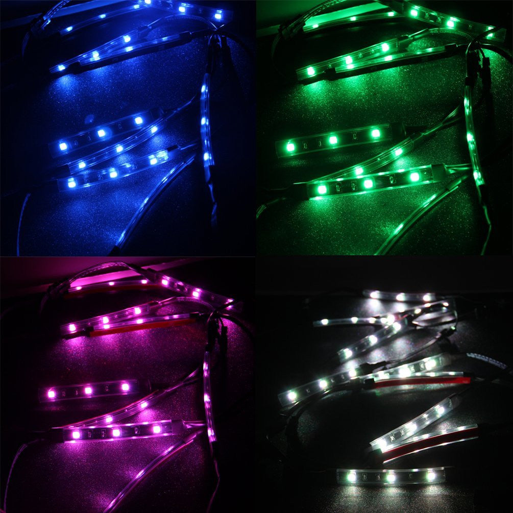 Motorcycle LED Light Kit Multi-Color Flexible Strips Ground Effect Light Kit with Wireless Remote Control