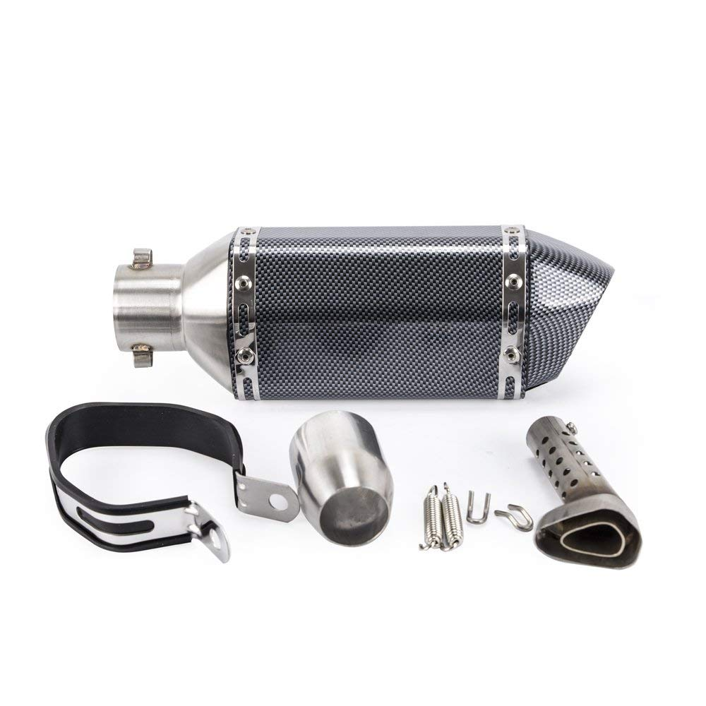 Motorcycle Complete Exhaust with Tip and Baffle (Full Black)