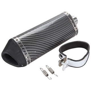 Carbon Fiber 38mm Motorcycle Scooter Exhaust Muffler Pipe W/ Movable Silencer