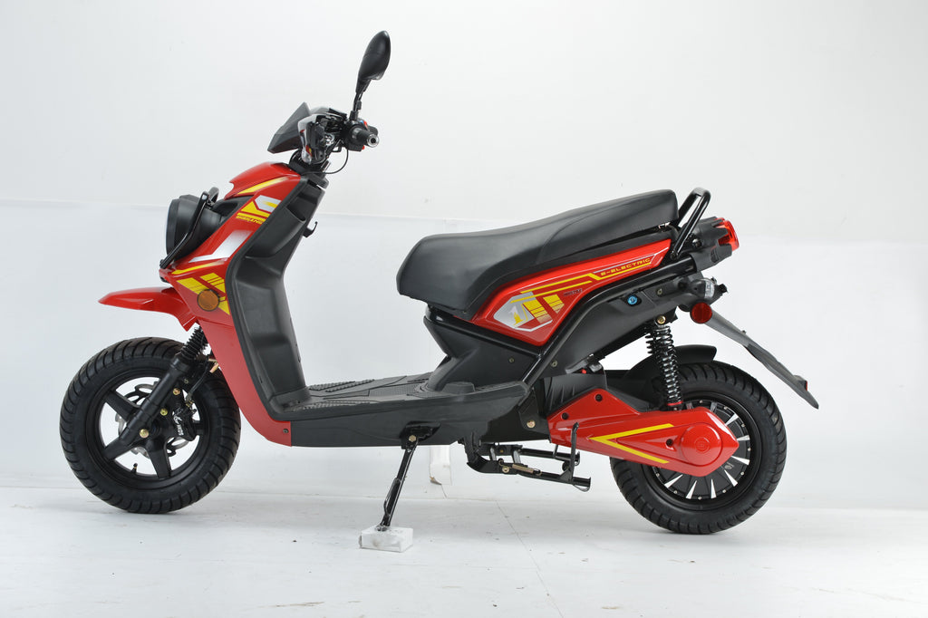 Boom 2000w 72v Electric Moped Scooter BD576Z side view red