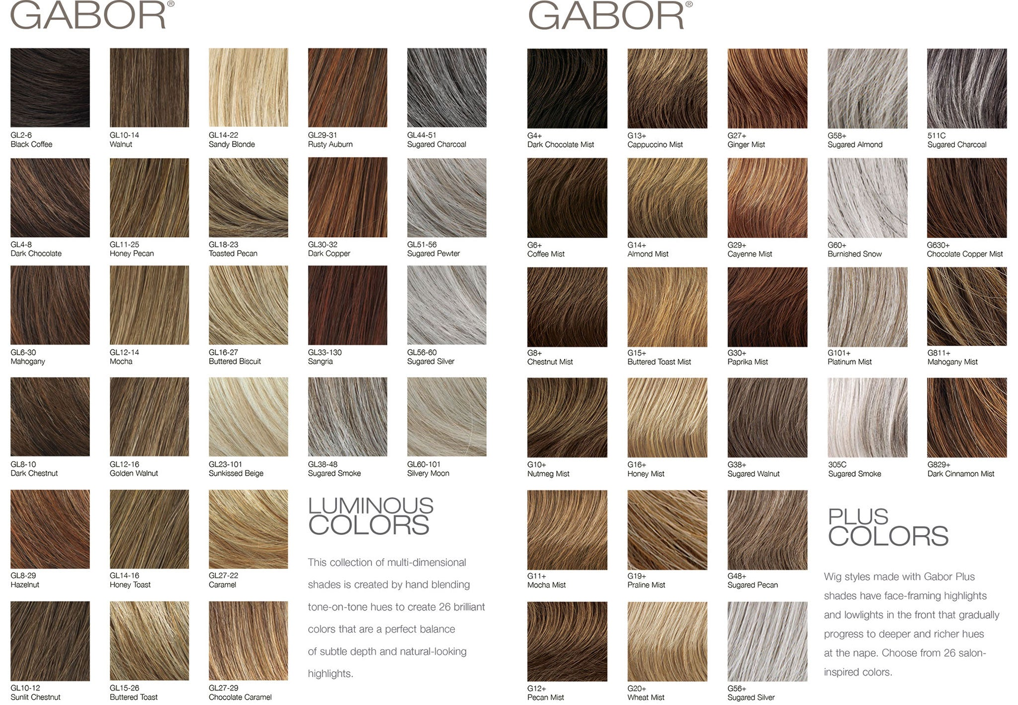 Color chart for wigs - Color Chart