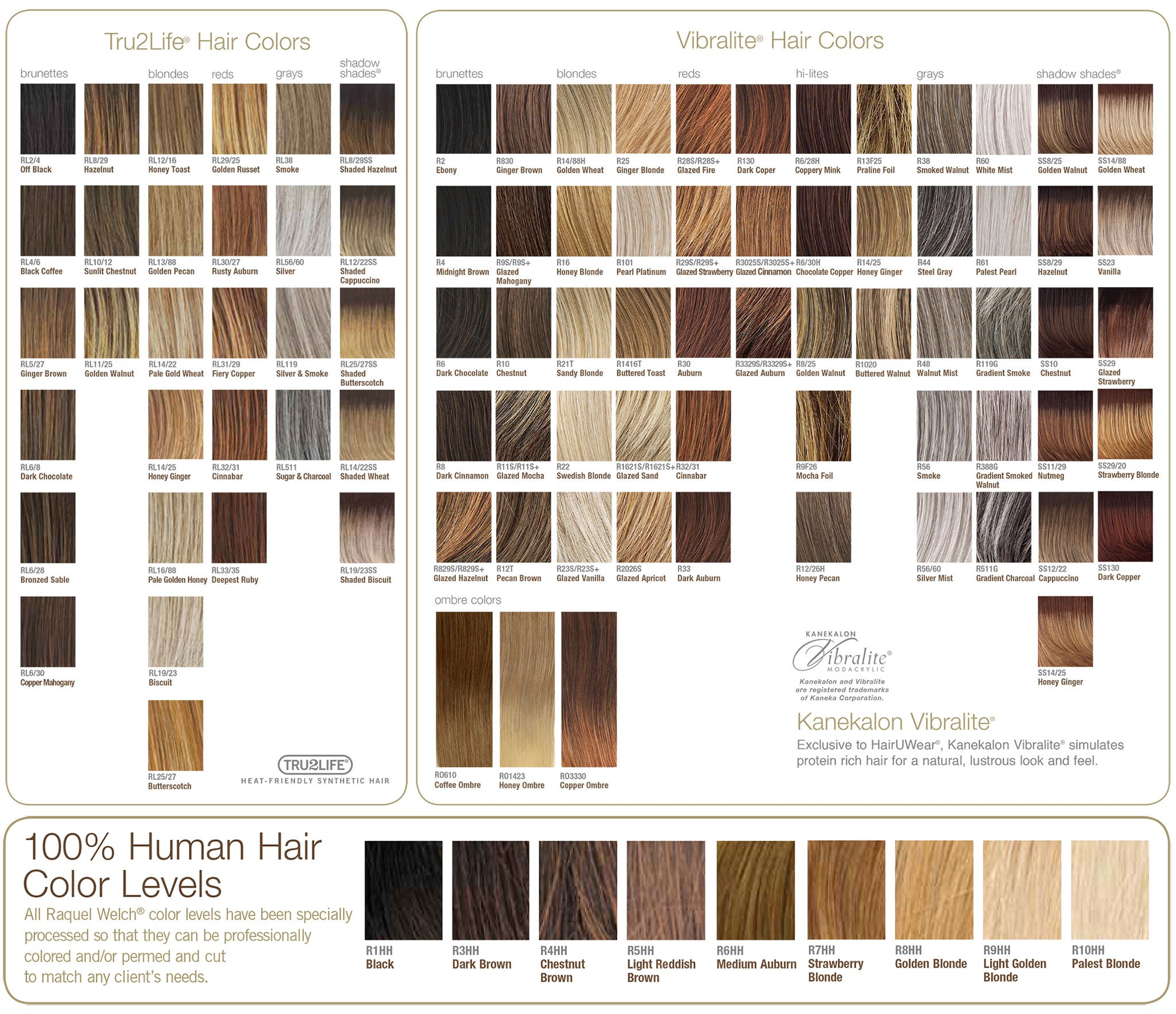 Color chart for wigs - Raquel Welch