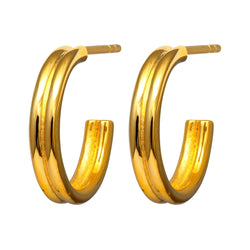 LULU Copenhagen 2FOR1 CHUNKY HOOPS PAIR Hoops Gold Plated