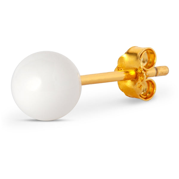 LULU Copenhagen BALL LARGE 1 PCS - GOLD PLATED Ear stud, 1 pcs White