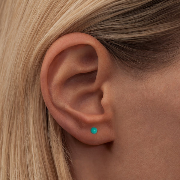 LULU Copenhagen COLOR BALL 1 PCS - ENAMEL Ear stud, 1 pcs Petrol