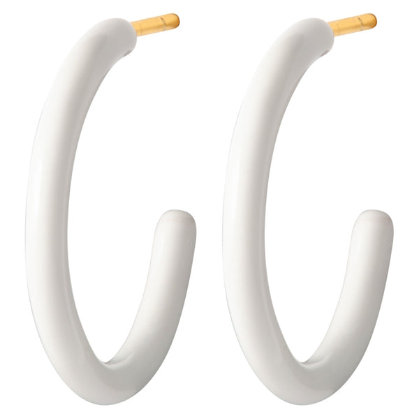 LULU Copenhagen COLOR HOOPS MEDIUM PAIR - ENAMEL Hoops White