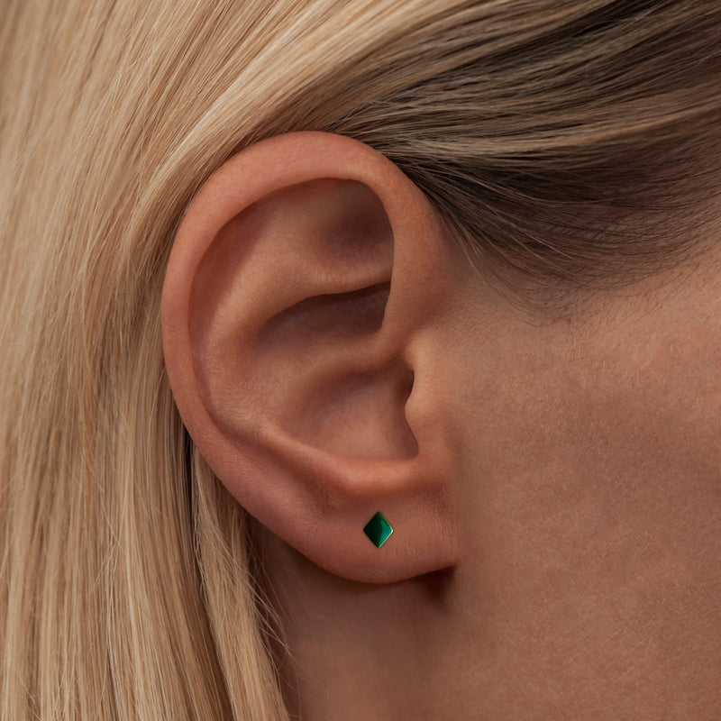 LULU Copenhagen CONFETTI 1 PCS - GOLD PLATED Ear stud, 1 pcs Green