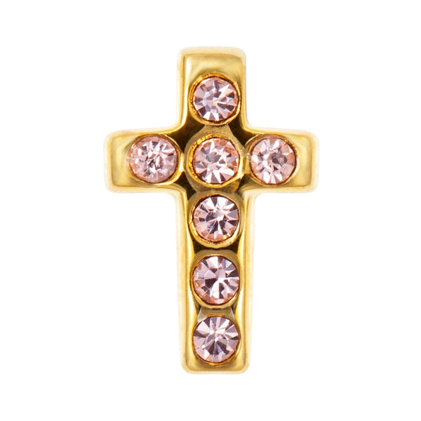 LULU Copenhagen CROSS CRYSTAL 1 PCS - GOLD PLATED Ear stud, 1 pcs Rose