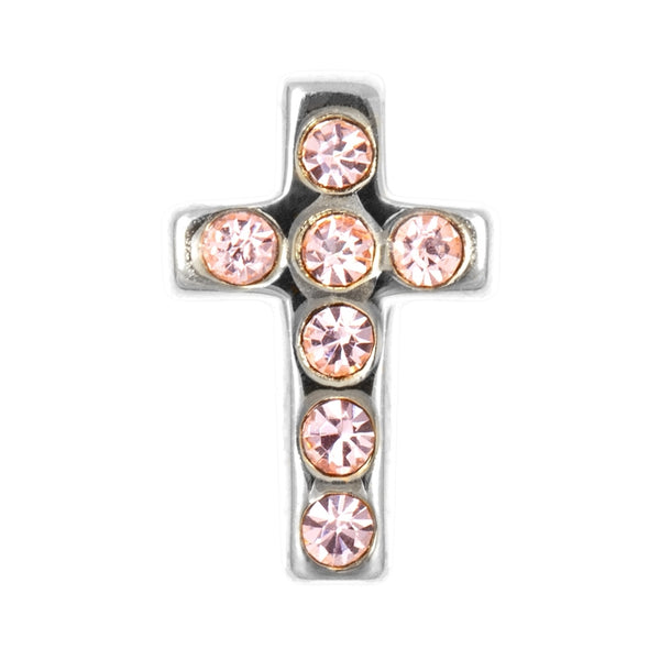 LULU Copenhagen CROSS CRYSTAL 1 PCS - SILVER Ear stud, 1 pcs Rose
