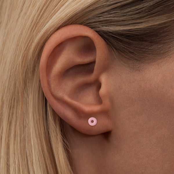 LULU Copenhagen DONUT 1 PCS - ENAMEL Ear stud, 1 pcs Light Pink