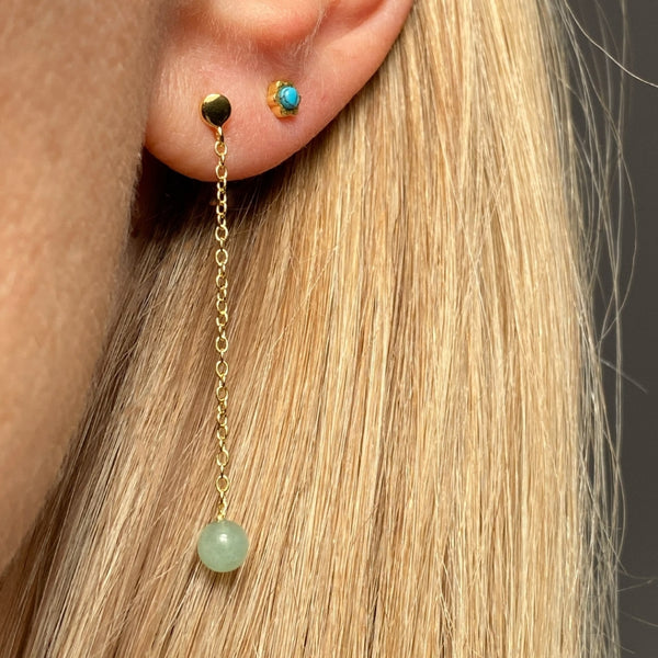 LULU Copenhagen NATURAL STONE CHAIN 1 PCS Ear stud, 1 pcs Light Green