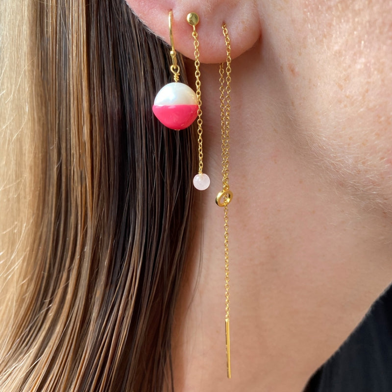 LULU Copenhagen NATURAL STONE CHAIN 1 PCS Ear stud, 1 pcs Rose