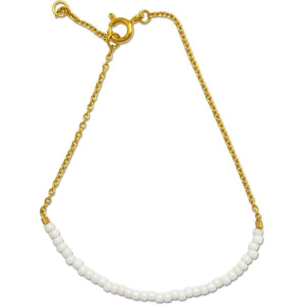 LULU Copenhagen STRING BRACELET - GOLD PLATED Bracelets Gold with white seed beads
