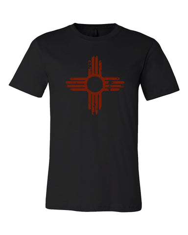 Distressed Zia T-Shirt with Red Imprint | Guerrilla Graphix New Mexico Tee Shirt