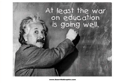War on Education Einstein Postcard