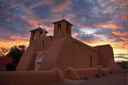 Sunset on St Francis Church Taos postcard